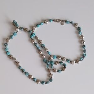 Lucky Brand turquoise and silver necklace